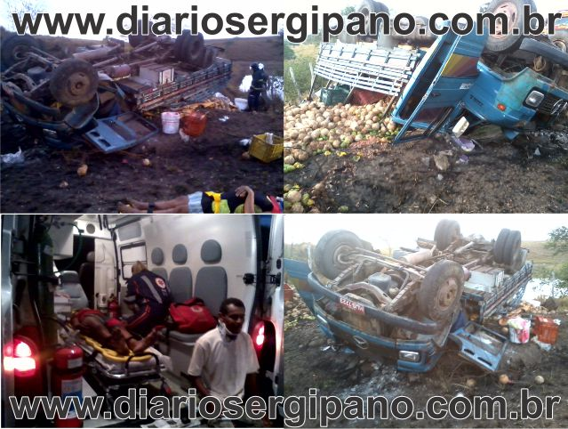 Caminhão de feirantes capota e sete pessoas ficam feridas em Boquim.