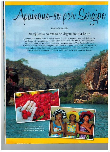 Sergipe é notícia na revista Folha do Turismo