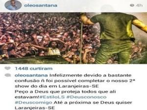 Léo Santana lamentou a confusão e o encerramento do show em Laranjeiras (SE) (Foto: Reprodução/Instagram)