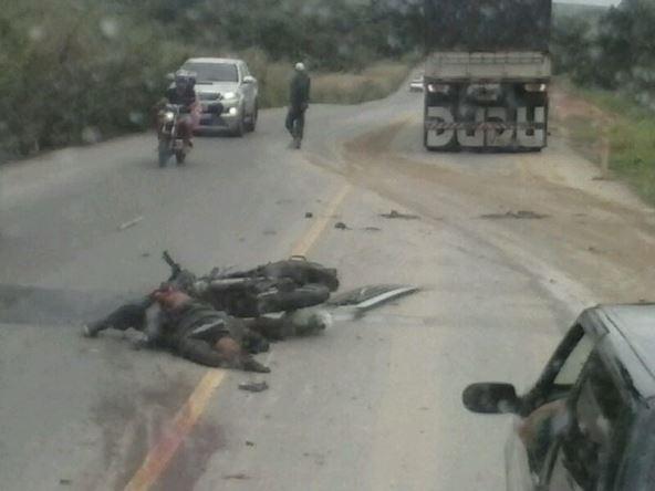 Acidente aconteceu próximo ao acesso do município.(Foto: Grupo WhatSapp)