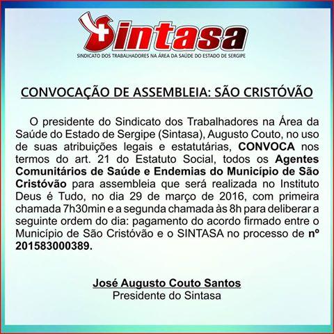 Sintasa convoca Agentes de Saúde e Endemias para Assembleia em São Cristóvão