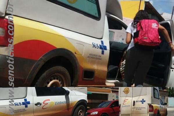 Ambulância da prefeitura de Estância é flagrada transportando estudante
