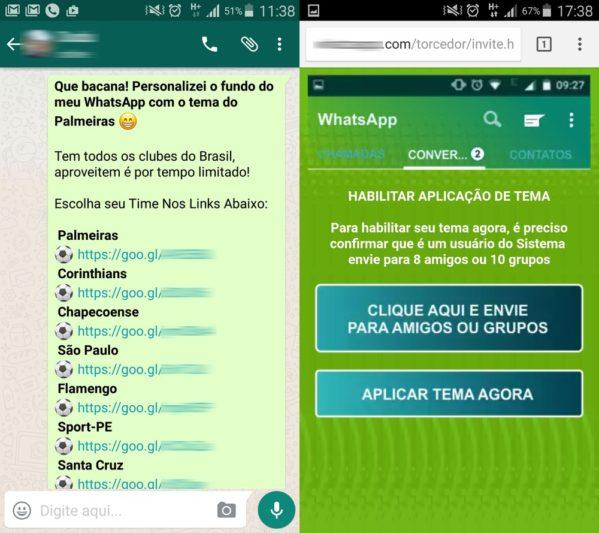 """Mensagem diz o seguinte: """"Que bacana! Personalizei o fundo do meu WhatsApp com o tema do Palmeiras"""" (Foto: Divulgação/PSafe)"""