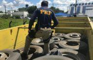 PRF apreende carga de pneus e três homens são detidos em Itabaiana
