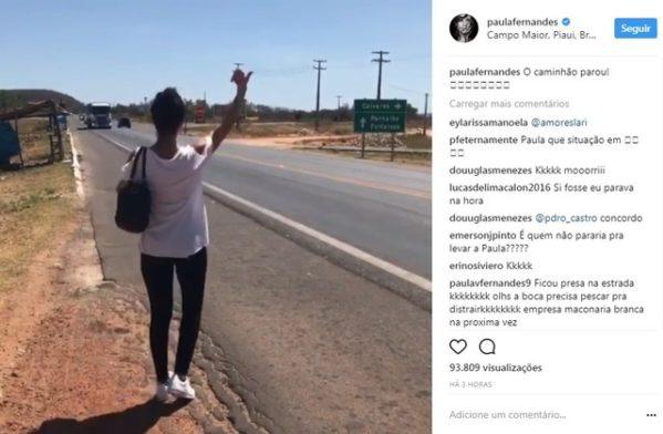 Equipe da cantora tentou empurrar o veículo para tentar fazê-lo funcionar. Nas redes sociais cantora brincou sobre o ocorrido.
