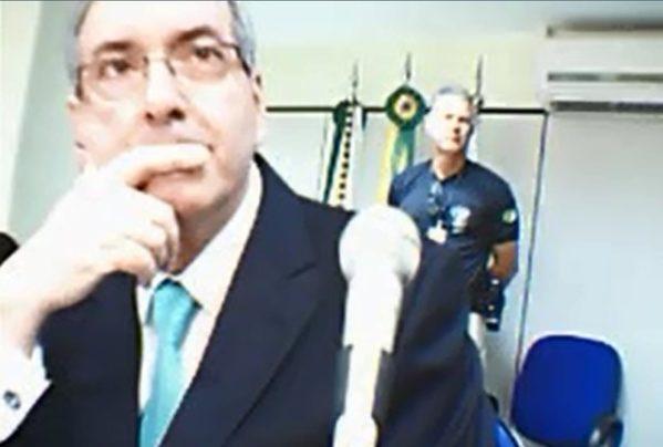 O deputado cassado Eduardo Cunha presta depoimento à Justiça Federal em Brasília (Foto: Reprodução, Justiça Federal)