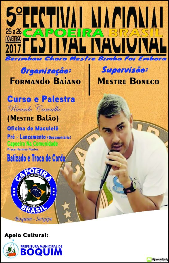 5° Festival Nacional Capoeira Brasil acontece nos dias 25 e 26 em Boquim