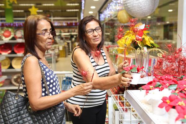 A dona de casa Virgínia Silva faz questão de enfeitar o lar nesta época do ano. Na companhia da irmã, ela percorreu o setor de decoração (foto: Victor Caldas).