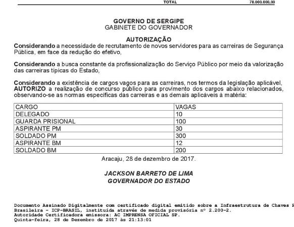 Foto extraída do Diário oficial do Estado desta sexta-feira, 29.