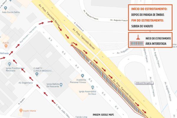 Obra mudará trânsito na avenida Tancredo Neves a partir do dia 26