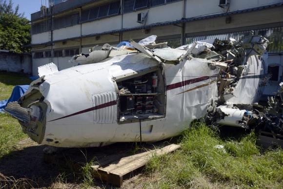 Destroços da aeronave que caiu no mar de Paraty e matou o ministro do STF Teori Zavascki e mais quatro pessoas em 19 de janeiro de 2017Tomaz Silva/Agência Brasil