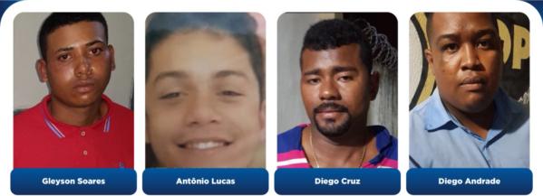 Antonio Lucas Santos Alves, Diego José Andrade, Diego da Cruz e Gleidson Soares da Hora
