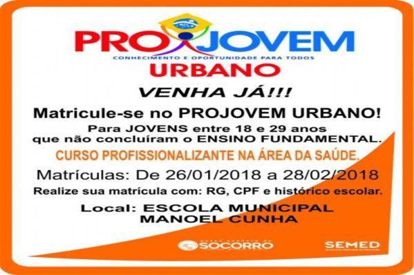Prefeitura de Nossa Senhora do Socorro ofertará 200 vagas do Projovem
