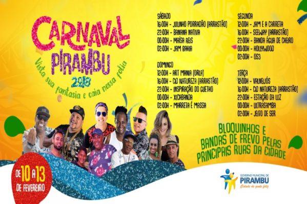 Prefeitura de Pirambu divulga programação de carnaval