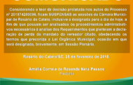 Justiça suspende sessões da Câmara de Rosário do Catete