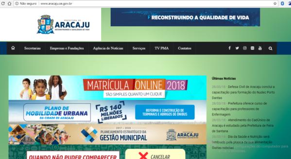 Site da Prefeitura de Aracaju é invadido por hackers
