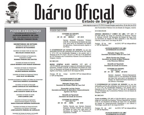 Editais dos concursos públicos para 661 vagas em Sergipe foram publicados no Diário Oficial