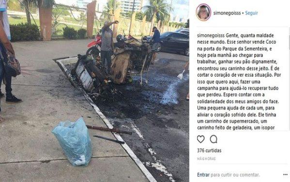 Campanha para ajudar senhor que vende cocos no Parque da Sementeira rende mais de 5 mil reais