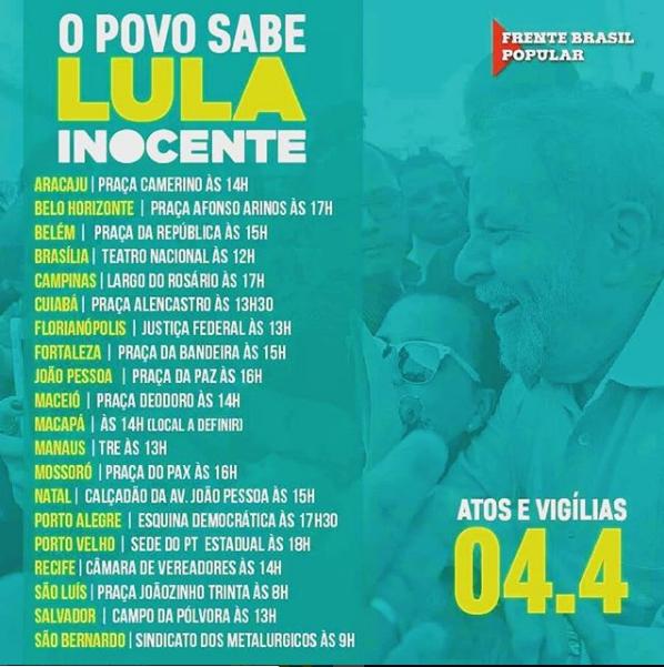 Aracaju terá protesto a favor de Lula nesta quarta-feira