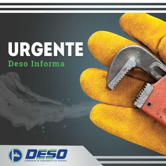 Deso informa interrupção do abastecimento em bairros da Grande Aracaju nesta sexta, 18