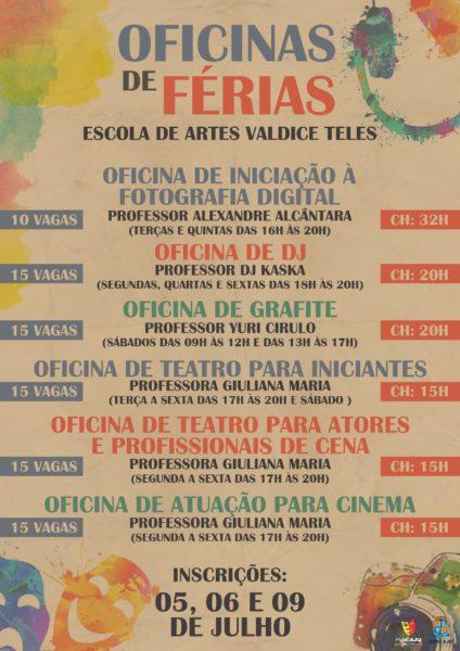 Escola de Artes Valdice Teles abre inscrições para oficinas de férias