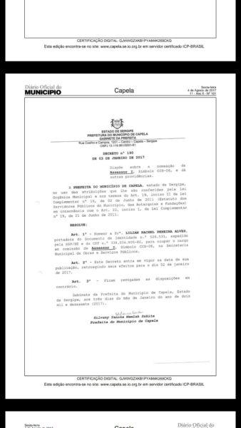 Prefeitura de Capela emite nota e nega acusação de nepotismo cruzado praticado pela prefeita Silvany Mamlak