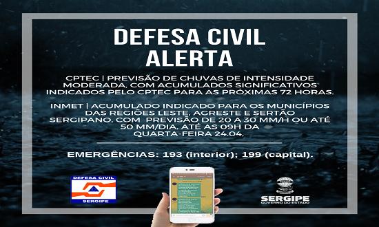 Defesa Civil alerta para chuvas em 67 municípios de Sergipe