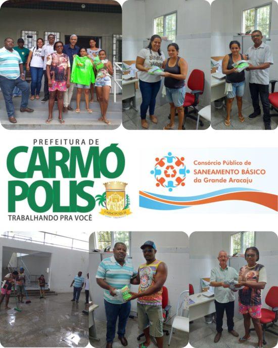 Catadores de Materiais Recicláveis de Carmópolis recebem fardamentos e instruções para iniciarem os trabalhos de coleta seletiva no município