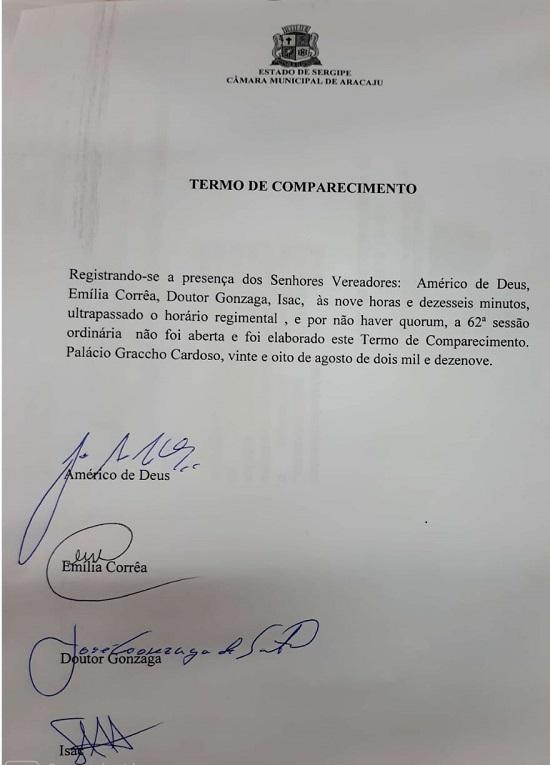 Ausência de 20 vereadores provoca suspensão de sessão na Câmara de Aracaju