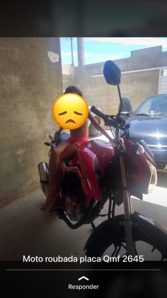 Mulher que teve moto roubada no loteamento Marivan faz apelo para encontrar veículo