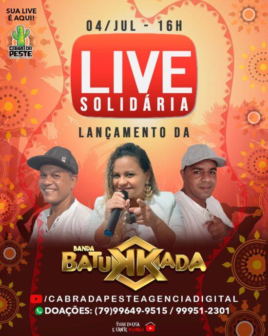 Live solidária da banda Batukkada acontecerá no sábado, 04