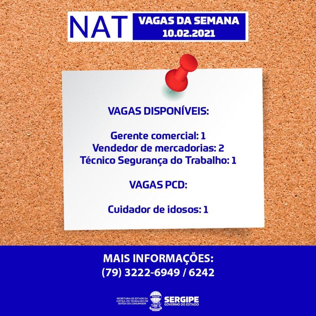 NAT comunica cinco vagas disponibilizadas nesta semana