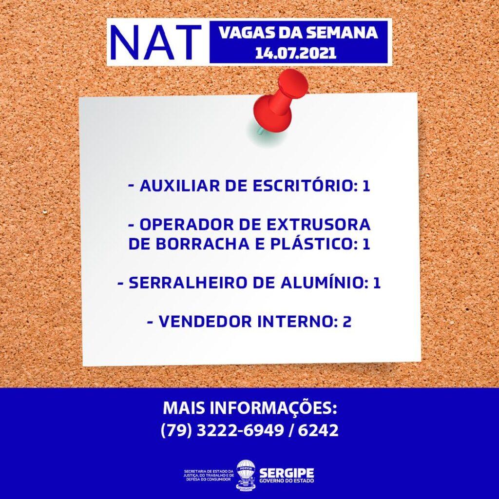 NAT divulga cinco vagas de emprego nesta quarta-feira