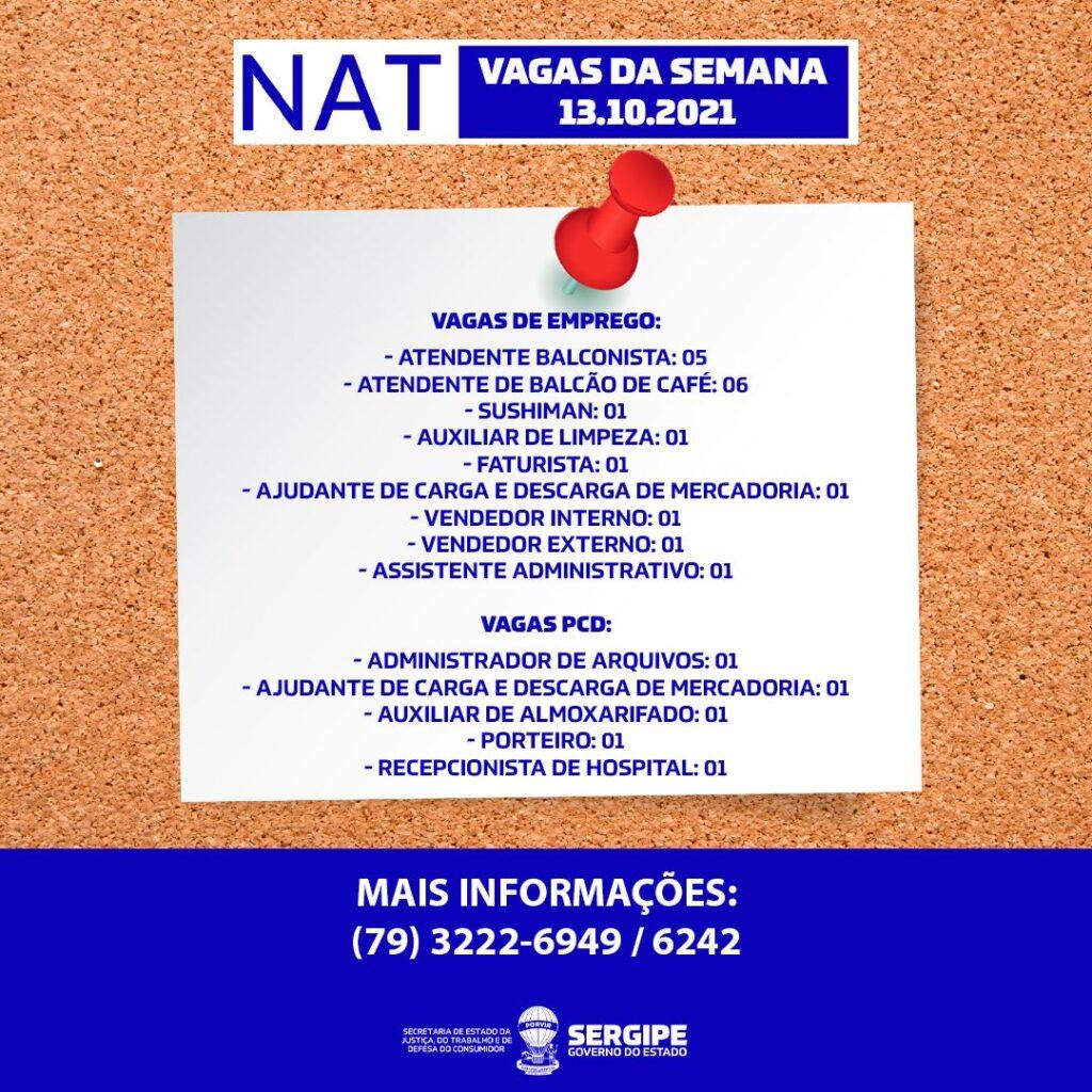 NAT comunica 23 vagas disponibilizadas nesta semana
